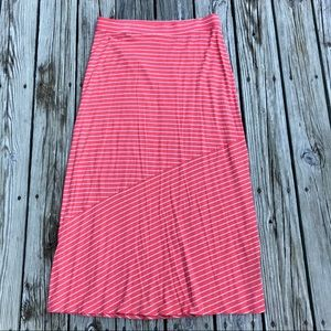SONOMA Pink Grey Stripe Knit Full Maxi Skirt L